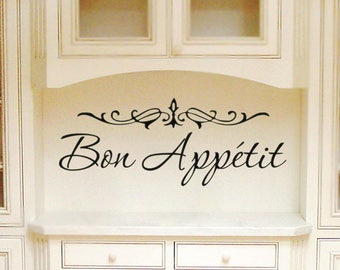 Kitchen Decor Wall Decal Kitchen French Decor Cooking Decal Bon Appetit Sign Kitchen Wall Decal Vinyl Lettering French Sign Vinyl Decal