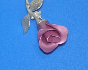 Vintage Avon Single Pink Rose Silver Pin Brooch