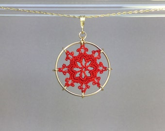 Nautical doily necklace, red hand-dyed silk thread, 14K gold-filled