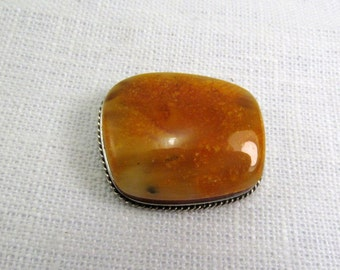 Baltic Amber Brooch 6,3 gram Natural Yellow Yolk Butterscotch Amber 925 Sterling Silver