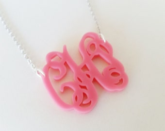 "Small 1.5"" Kids Pink Acrylic Monogram Necklace"