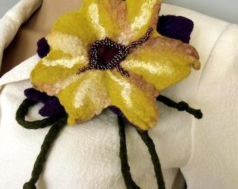 Felt flower brooch Felted brooch Felt pin brooch Flower brooch Pin felted corsage Felt flower pin Rustic felt flower Gift for her Fiber art