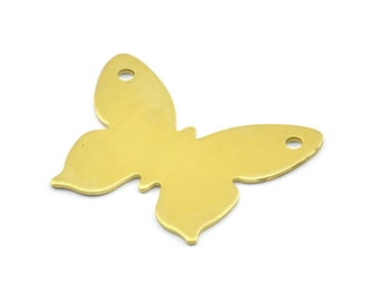 Brass Butterfly Pendant, 10 Raw Brass Butterfly Pendant, Stamping Blanks (30x24x0.80mm) D245 - C058