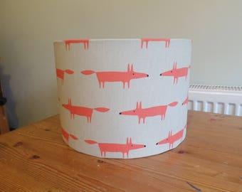 Handmade 30 cm diameter Drum lampshade in beige, small orange fox fabric