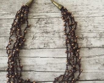Multistrand Beaded Crocheted Necklace