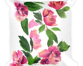Pink abstract floral Square Pillow