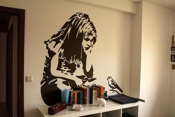 The Little Girl and the Blue Bird, Wall Decal Sticker, Banksy Style, Urban art, Artist graffiti stencil walls wallart spray, Wall Art