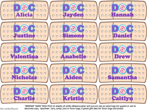 Doc mcstuffins band aid bandage cutout party favors name