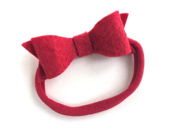 Red baby headband - baby headband, baby girl headband, baby headband bows, nylon headband, newborn headband, baby bows, baby bow headband