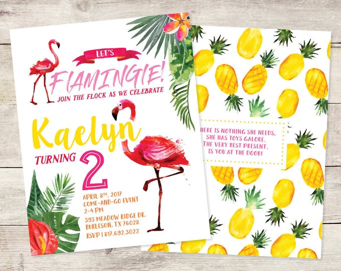 5x7 Water Color Tropical Pineapple Flamingo Themed Birthday Invitation for Girl