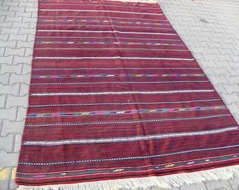 free shipping VINTAGE TURKİSH balıkesir kilim Anatolian handwoven kilim rug decorative kilim - SİZE : 72'' X 116'' ( 180 cm X 290 cm)