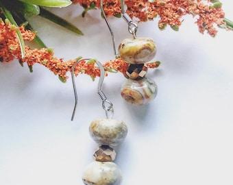 Brown Earrings, Brown Marble Earrings, Boho Earrings, Ethnic Earrings, Birthday Gifts, Gift For Her, Drop Earrings | Jewelry for a Cause