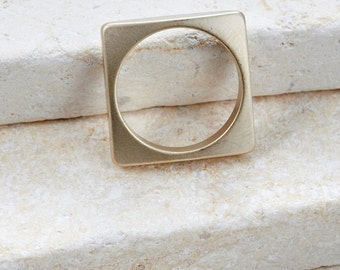 Square Ring brass ring unique ring simple ring gift idea trendy ring geometric ring