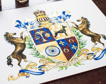 "Custom Art Print  11"" x 14"" - Family Coat of Arms or Custom Family Crest - Create a coat of arms - Digital family crest with gold leaf"