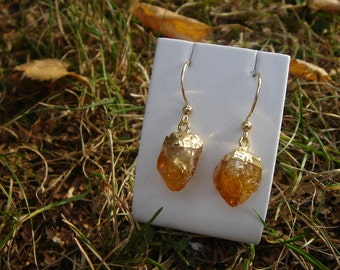 Raw citrine earrings! Unusual and beautiful!