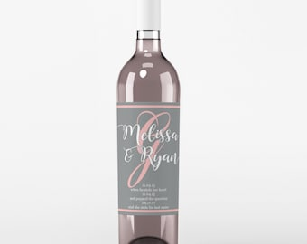 Monogram Wedding Wine Label - Custom Wine Label - Personalized Wine Label - Wedding Wine Bottle Label - Wedding Decor - Wine Labels