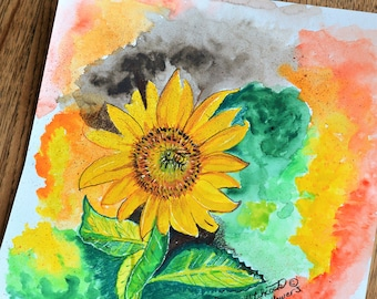 Floral Painting, Sunflower Painting, Bee Painting, ORIGINAL Painting, ORIGINAL Floral, Bumble Bee Art, Bee On Sunflower, ORIGINAL Watercolor