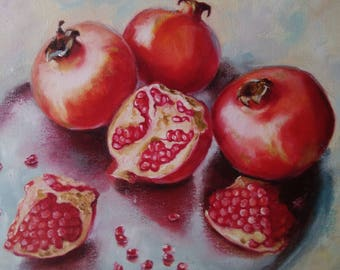 Sweet pomegranates Oil painting Fruits