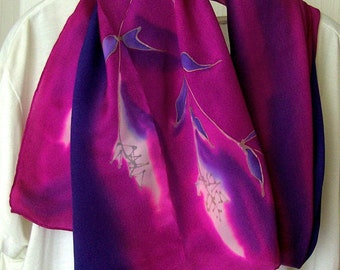 Design Fashion birthday gift silk scarf hand painted grasses exclusive shimmer crepe de Chine anniversary wedding gift (16x70in) 45x179cm