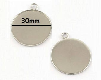 15 stainless steel 30mm cabochon pendants