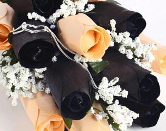 Peach & Black Half Dozen Wax Dipped Roses