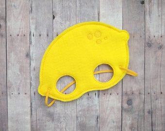 Lemon Felt Mask, Elastic Back, Yellow Acrylic Felt with Embroidery, Halloween Costume, Photo Booth Prop, Fruit Mask, Made in USA
