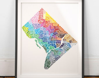 Washington DC Neighborhood Map Art Print, Washington DC wall decor, Washington DC typography map art