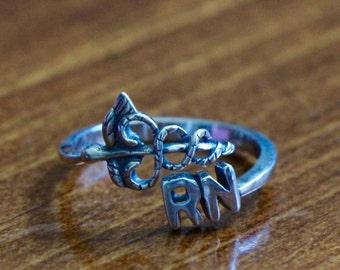 RN Ring- Caduceus- Registered Nurse- Nursing Graduation Gift- Nurse Jewelry- Christmas Gift- Medical Jewelry