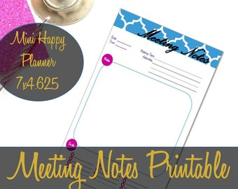 Meeting Notes Mini Happy Planner Printable Insert 4.625x7, Meeting Planner, Meeting Insert, Recollections Insert - INSTANT Download