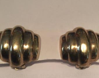 Gold Plate Vintage Mid Century Earrings