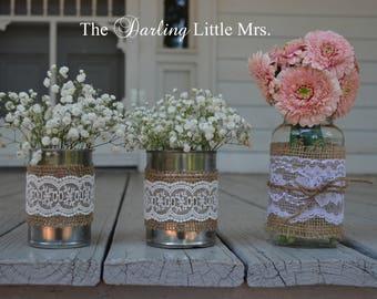 County Wedding Decor, Aluminum Cans, Rustic Wedding, Country Wedding Centerpiece, Shower Centerpiece, 4 Count