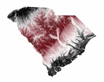 South Carolina Topographic Map in Maroon and Black