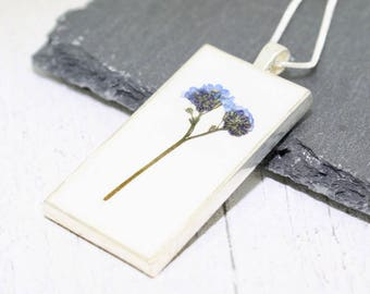 Forget Me Not Necklace, Leaving Gift, Real Flower Necklace, Pressed Flower Necklace, Forget Me Not Jewelry, Real Flower Jewelry, Remember Me