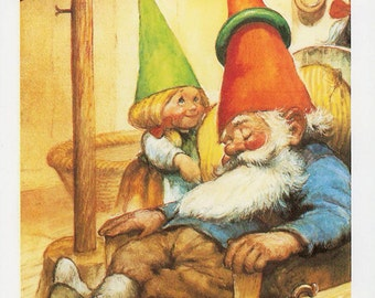 Vintage art print 80s. David the gnome taking a nap. By Rien Poortvliet.
