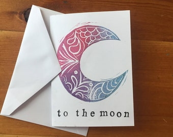 Love You to the Moon Card // Linoleum Relief Print