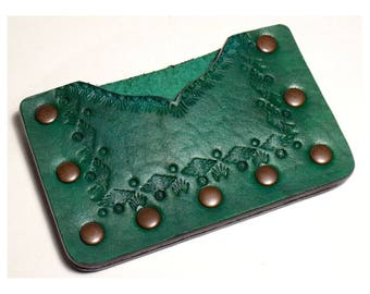 Southwestern Card Wallet, Green Tooled Leather ID / Credit Card / Cash Case, Handmade Leather Wallet, Riveted, Ready to Ship