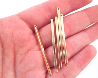 Gold Bar Pendants Long Bar Charms 40x2mm, Pick Your Amount, A106