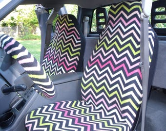 1 Set of Strawberry Pink ChevronPrint, Seat Covers and the  Steering Wheel Cover  Custom Made.