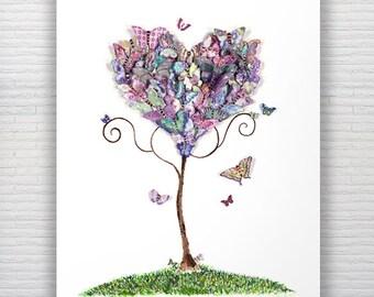 A3 Watercolour Butterflies Print Wall Art Decor  Bedroom Nursery Art Living Room Art Whimsical Butterfly Art Love Heart Art Purple Valentine