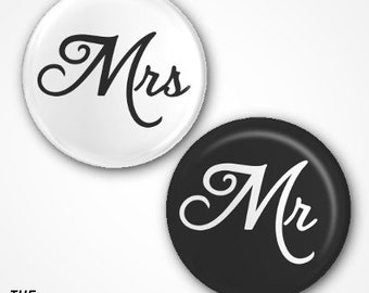 Mr and Mrs Pin Badges 2.5cm