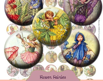 Vintage Flower Fairies One inch 25mm Circle Rounds Digital Collage Sheet  INSTANT Download - Bottle cap Pendant Jewelry - Printable