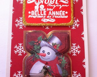 """Magical Christmas"" 3D snowman, red card"