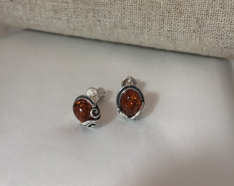 Amber Baltic  Stud Earrings and Silver Detailed, Classic , Elegant Design  Jewelry with Oxidized Silver