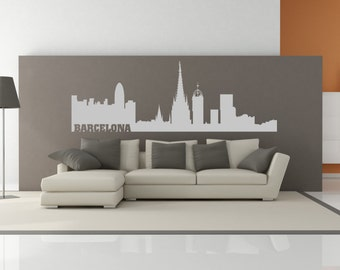 Barcelona Spain City Skyline Interior Wall Decal Sticker WITH Lettering