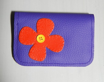 card wallet in purple and orange imitation leather and multicolor fabric