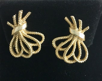 """Crown Trifari Ribbon Earrings, vintage, gold tone, signed, designer, 7/8"""" x 3/4"""", clip ons, only 1 available"""