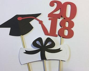 6 Graduation Centerpiece Picks - School Colors - Table Decorations  Class of 2018 - Party Decor - Graduation Party - College graduation