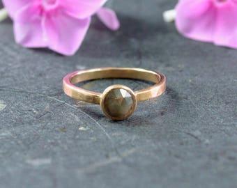 Rose Cut Natural Brown Diamond Stacking Ring // 14k Rose Gold Jewelry // Diamond Ring // Alternative Engagement Ring // Village Silversmith