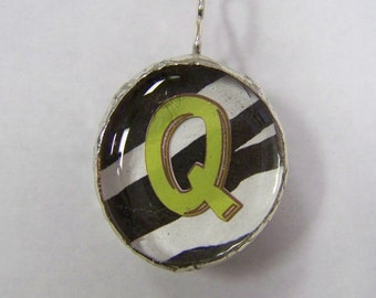 Initial Jewelry Pendant Soldered Glass Blob with Initial Q