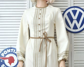 Vintage 60s Womens Dress Cream w/Tan Contrast Embroidery/Brady Mod/Jerell Texas Long Sleeve Small Costume